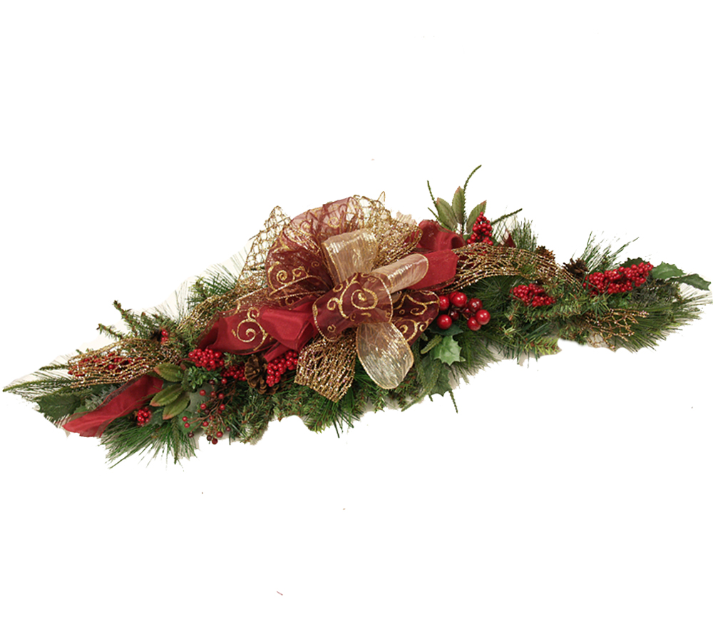Burgundy holiday swag christmas centerpiece wr