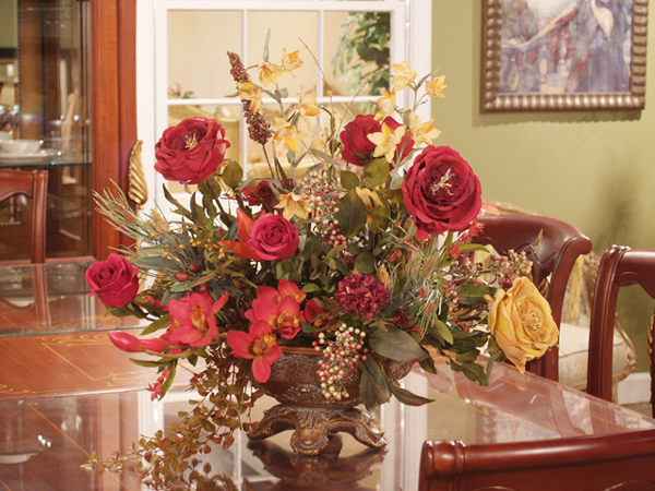 Red and gold silk rose arrangement ar102 120 floral home for Artificial plant decoration home