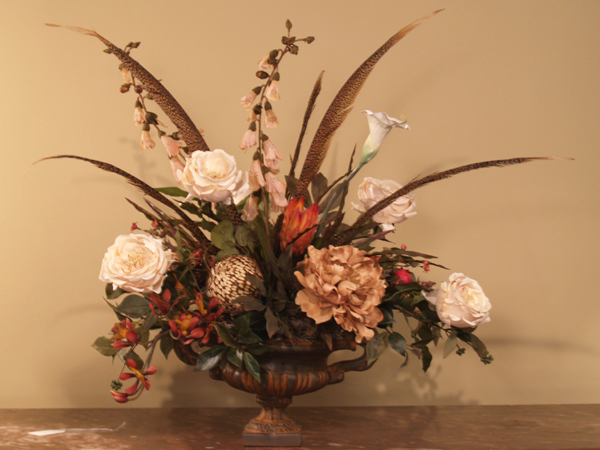 Elegant Pheasant Feathers Roses Silk Floral Arrangement Ar214 Click Image To Close