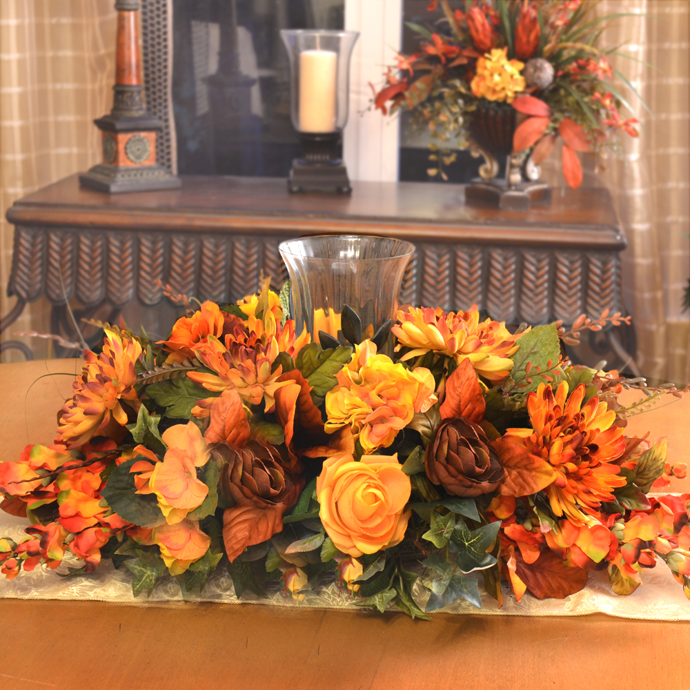 Thanksgiving floral centerpiece home decor silk