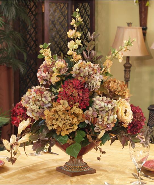 Silk flowers hydrangea centerpiece ar floral