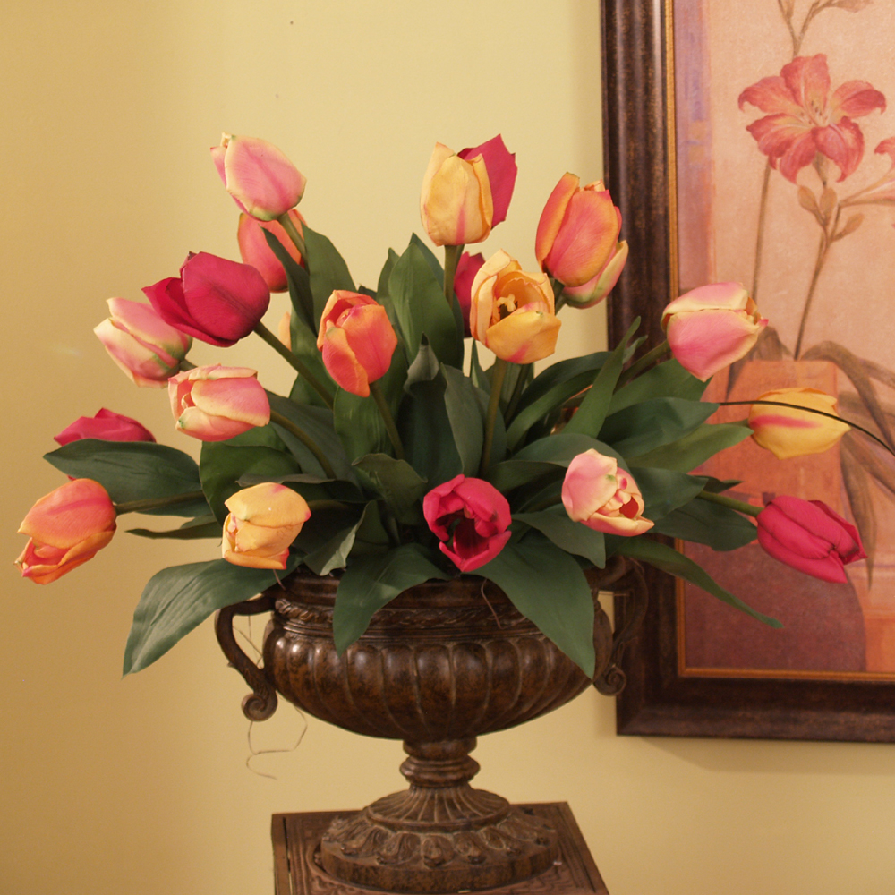 Colorful Tulips Large Silk Floral Centerpiece Ar260