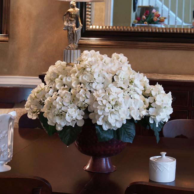 Silk flower arrangements white hydrangea ar floral