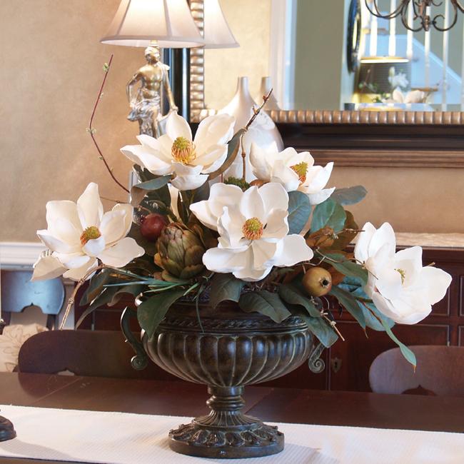 Silk Flowers | White Magnolias With Artichoke Centerpiece Ar273