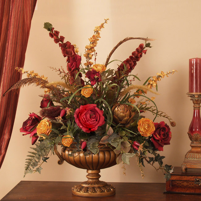 Grande Red And Gold Silk Floral Centerpiece Ar276 Floral