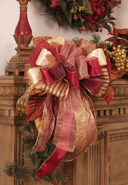 Burgundy Holiday Bows Set of 2 Mixed Burgundy and Gold