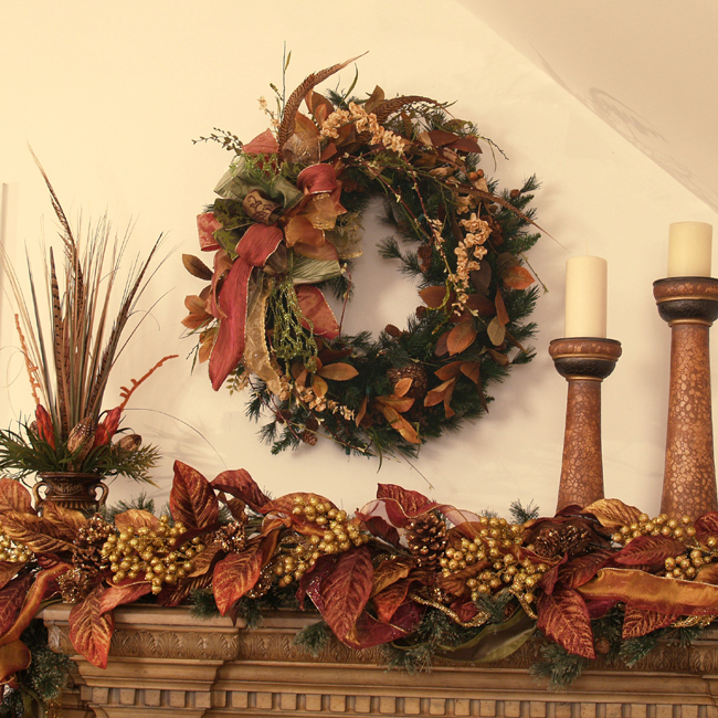 Holiday Copper Garland And Wreath Set Cr1008s Designer Set Floral Home Decor Silk Flowers