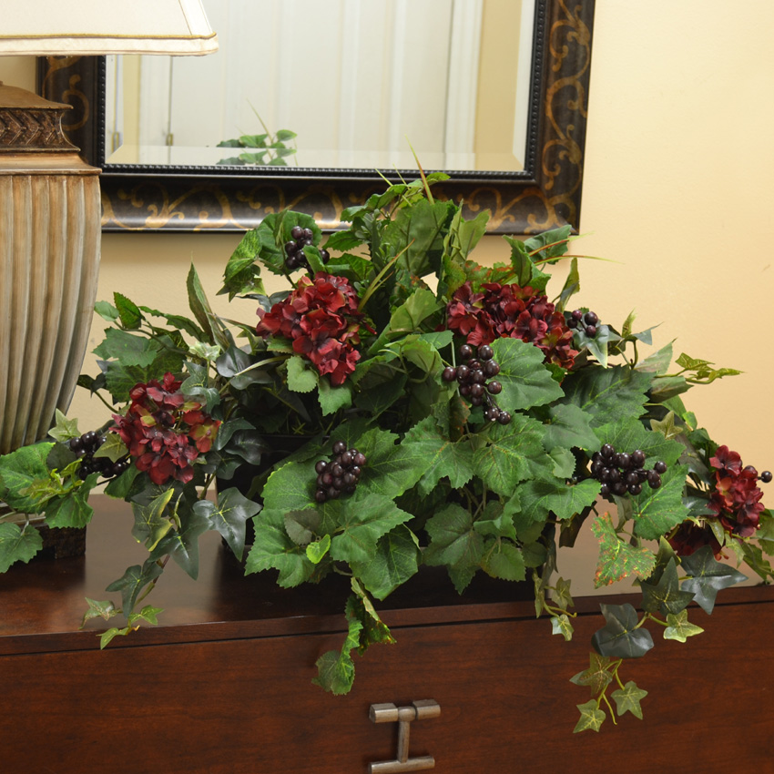 silk ledge plant with hydrangea berries ivy gr180 click image to close - Silk Arrangements For Home Decor