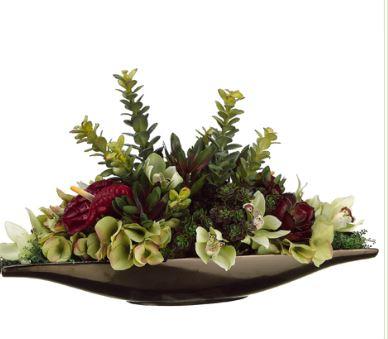 Green and Burgundy Silk Hydrangea and Succulent Arrangement WF1028
