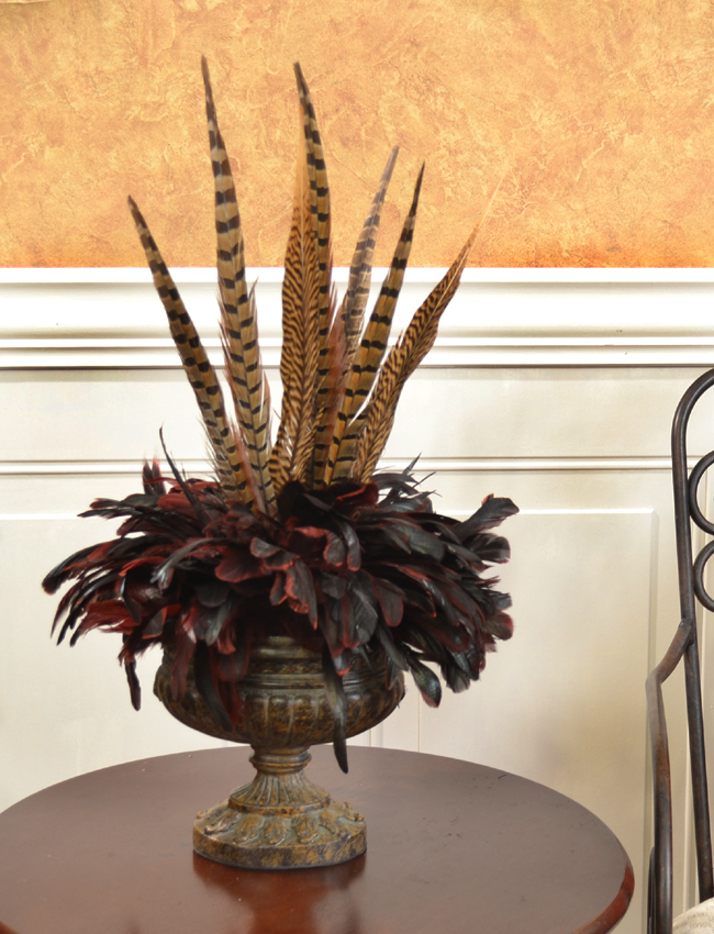 Bold and exotic pheasant feather floral arrangement nc