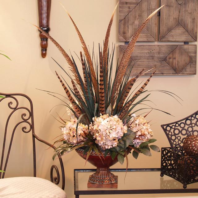 Cream hydrangea pheasant feather silk floral design