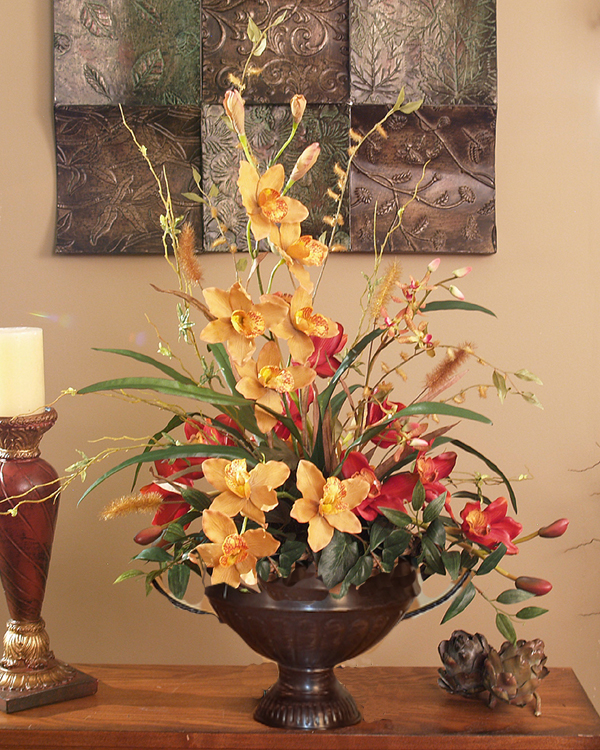 red and gold cymbidium silk orchid arrangement o126 59 click image to close - Silk Arrangements For Home Decor 2