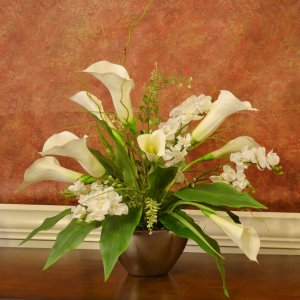 White Calla Lily And Orchid Silk Flower Arrangement Ar355