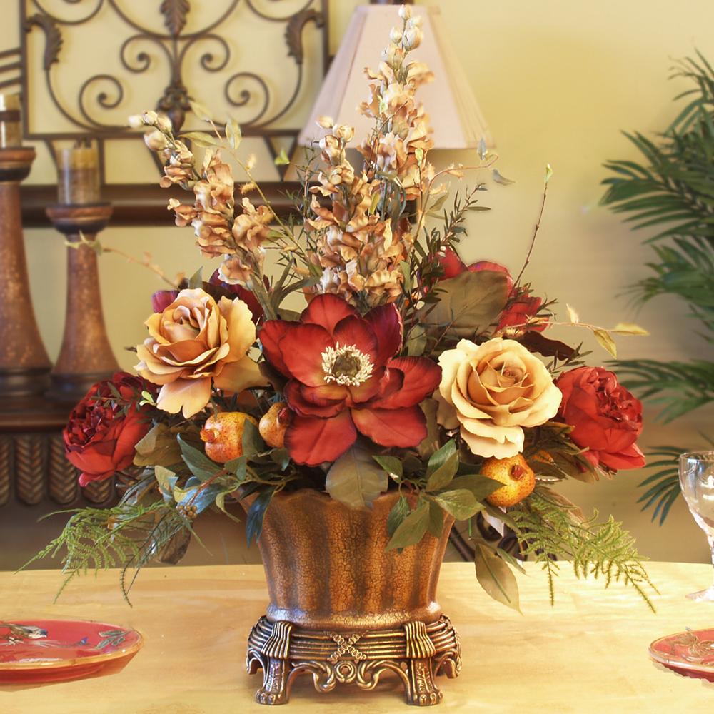 Magnolia Amp Rose Silk Floral Centerpiece Ar246 85 Floral