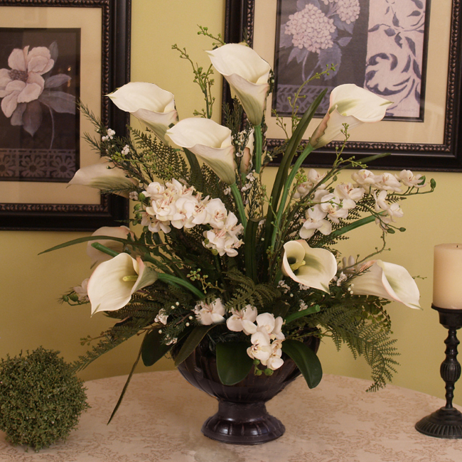 Calla Lily And Orchid Silk Floral Design Ar274 Silk Flowers Calla Lily And Orchid Ar274 194 00 Floral Home Decor Silk Rose Arrangements Tulip Floral Arrangements Magnolia Silk Flower Arrangements