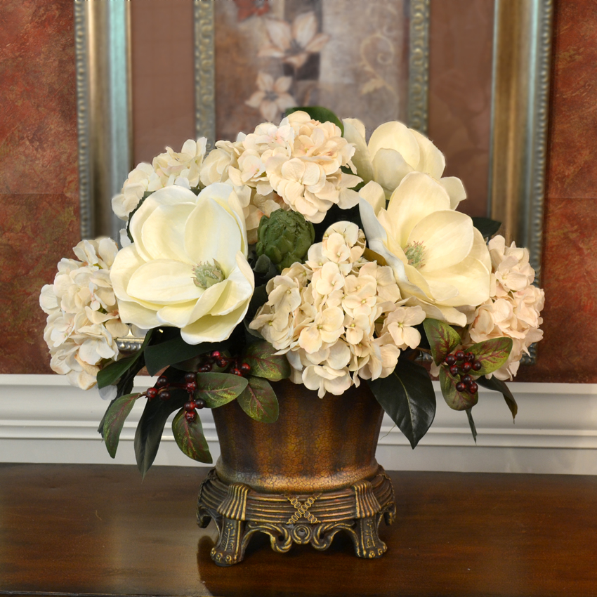 Burgundy And Cream Grande Silk Floral Centerpiece AR339