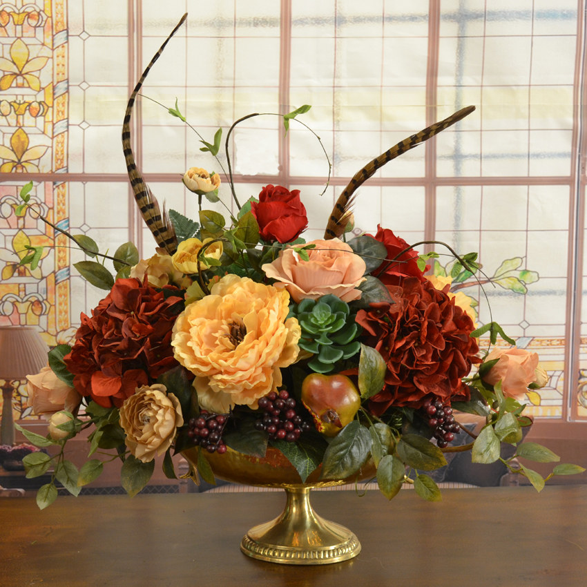 Roses And Snowball Ledge Design Silk Flower Arrangement