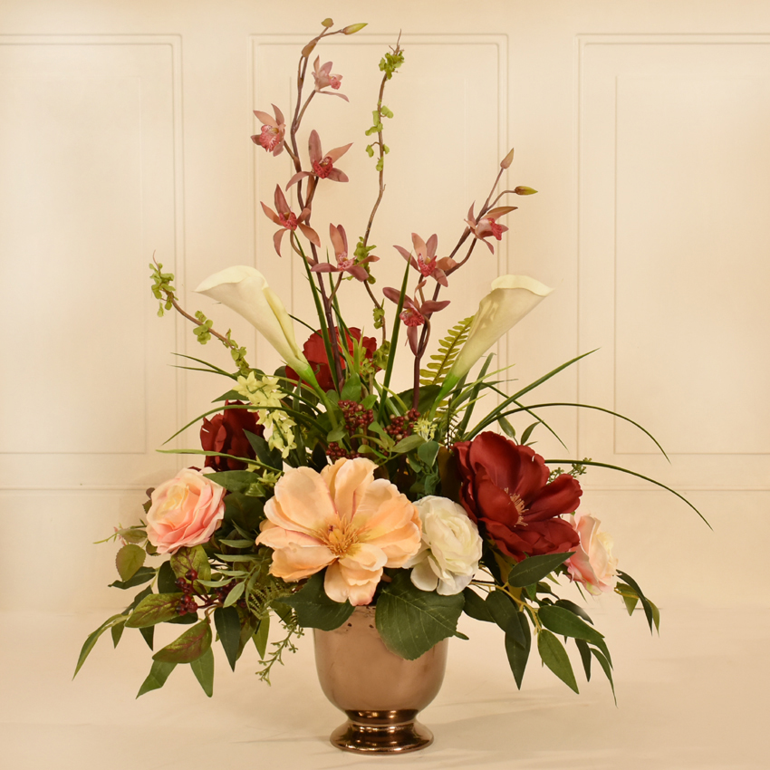 Magnolia Rose And Orchid Silk Flower Arrangement Ar411 Floral