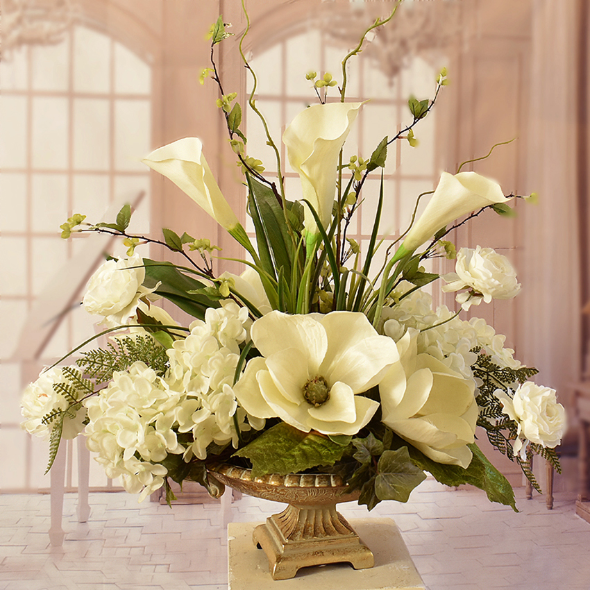 Cream Faux Magnolia Feather Wall Sconce SC24 : Floral Home ... on Silk Flower Wall Sconces Arrangements id=74819