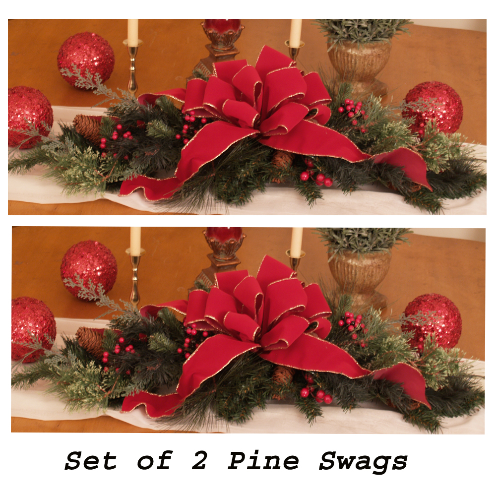set of 2 holiday table centerpieces cr1030 christmas decorations click image to close