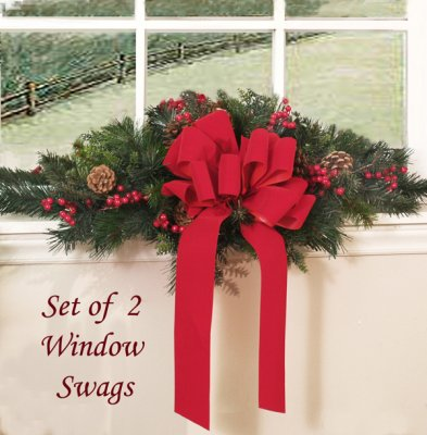 Outdoor Christmas Window Swags.Set Of Two Holiday Window Swags Crsw01 39 Silk Flower