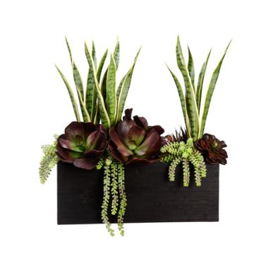 Tall Burgundy And Green Faux Succulent Arrangement In