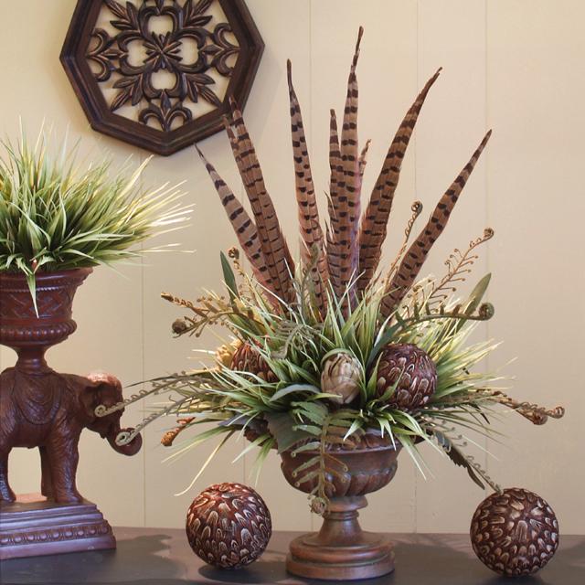 Pheasant Feathers Amp Hydrangea Floral Design Ar215 100 Silk