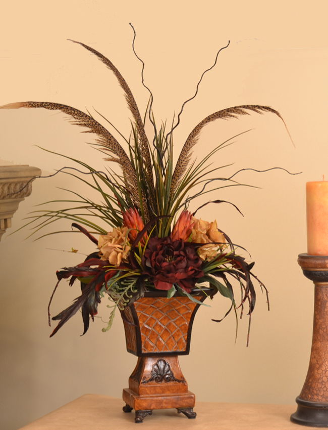 Grasses Feathers And Protea Mantel Floral Design Nc136