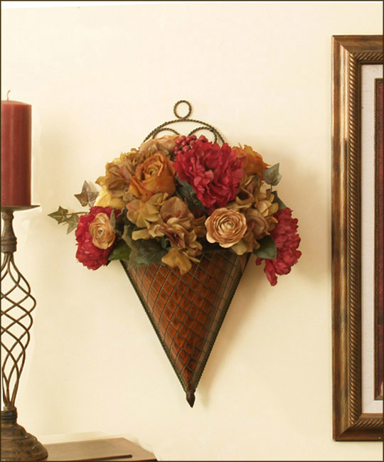 Wall Sconces : Floral Home Decor, silk rose arrangements ... on Silk Flower Wall Sconces Arrangements id=91947