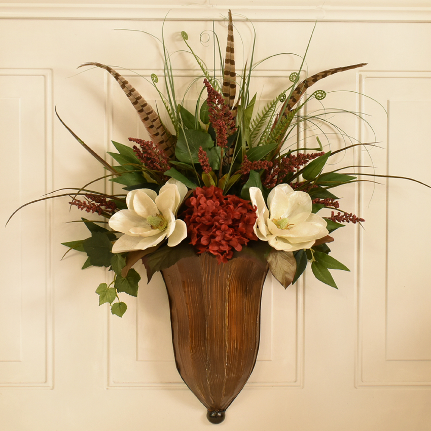 Wildflower, Feather, Peony Natural silk Floral Design ... on Silk Flower Wall Sconces Arrangements id=41399