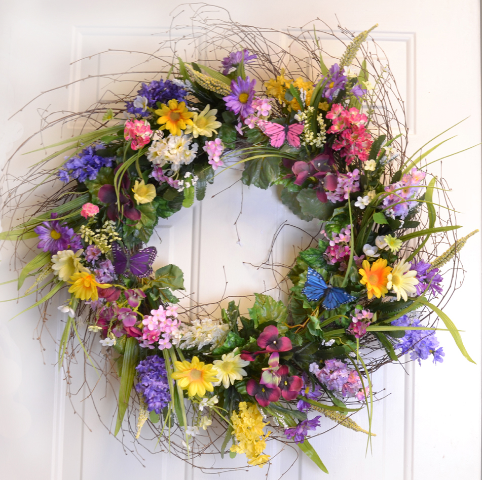 Colorful Designer Wildflower Wreath With Butterlfies Spring Summer