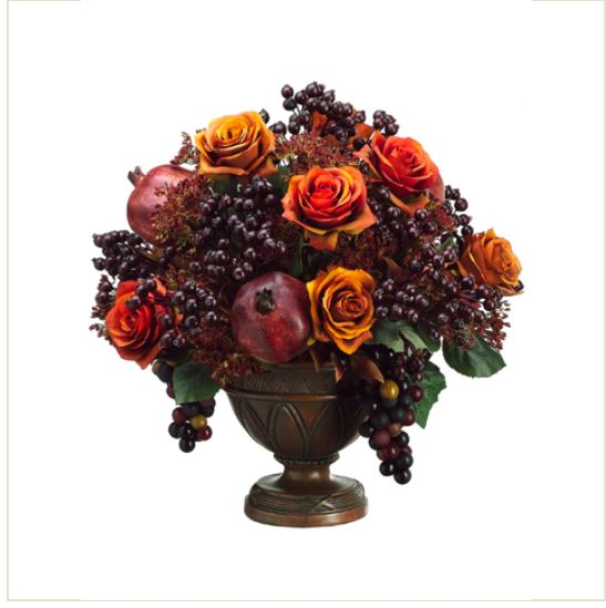 tuscany silk floral centerpiece with fruit and berries floral home rh floralhomedecor net tuscan floral arrangement