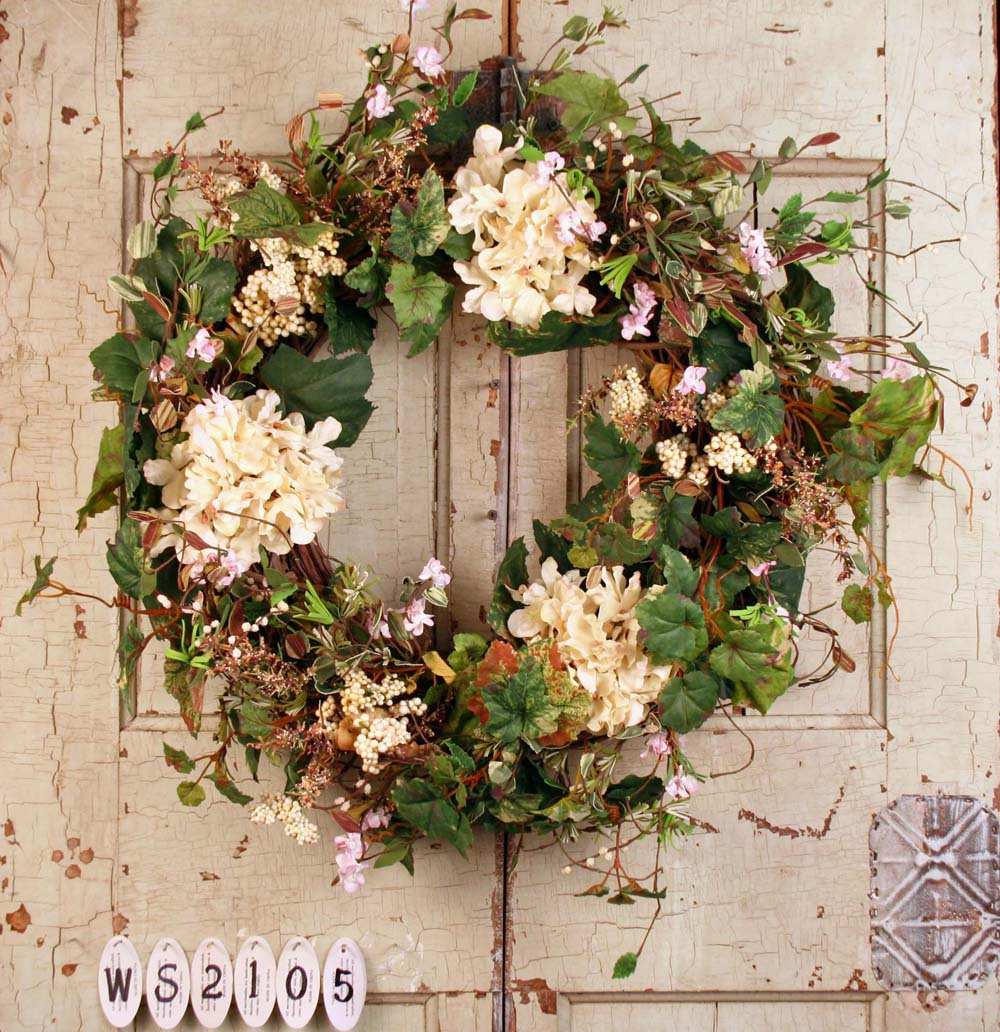 Crescent Grapevine Wreath With Pink Hydrangea Ws2105 Floral Home